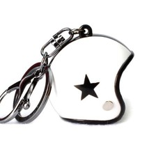 Keychain white jet helmet with black star