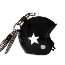 Keychain black jet helmet with white star