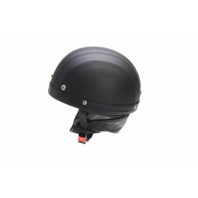 Vintage retro dull black leather half helmet