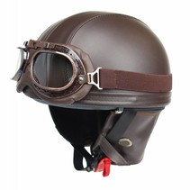 Vintage brown leather half helmet