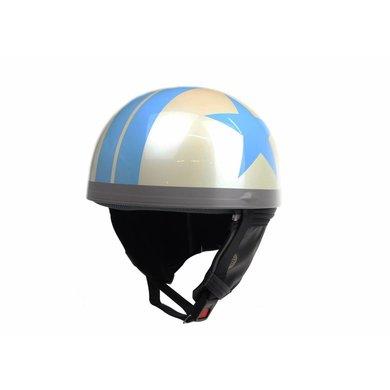 White half helmet light blue star