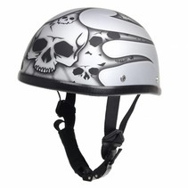 burning skull shiny silver chopper helmet