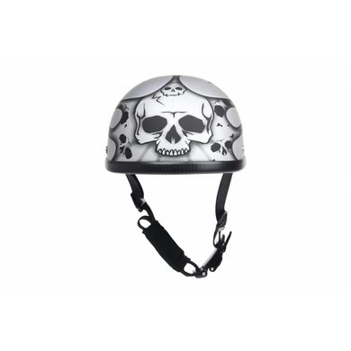 Dream Apparel burning skull silver chopper helmet