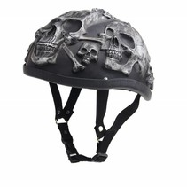 Grey skull chopper helmet