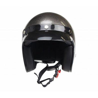 Redbike RB-765 retro open face helmet metal flake grey