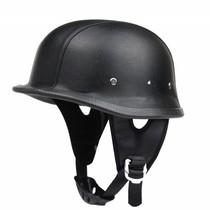 Black leather german motorcycle helmet
