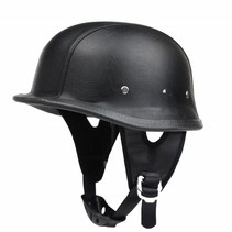 Black leather german motorcycle helmet
