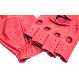 Swift racing fingerless leather gloves red