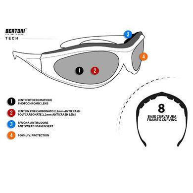 Bertoni antifog AF100C zwarte motorbril smoke glas