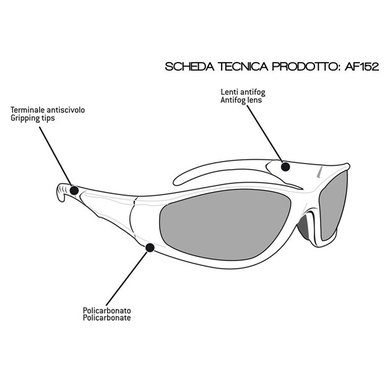 Bertoni antifog AF152A zwarte motorbril geel glas