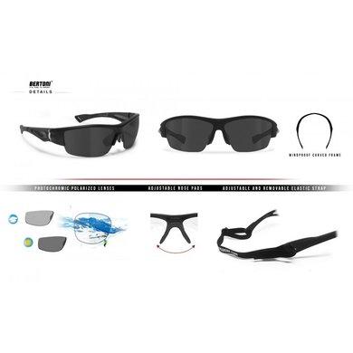 Bertoni polarized P1001FTA motorbril matzwart - smoke glas
