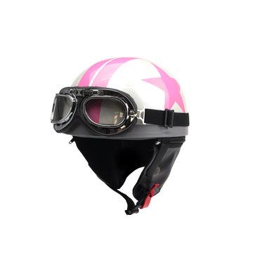 White half helmet pink star
