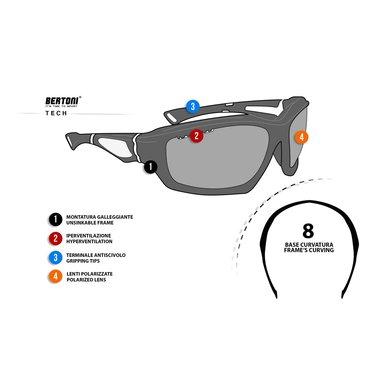 Bertoni polarized P676M motorbril zwart met groen - smoke glas