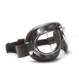 Bertoni antifog AF193CRB brown leather motor goggles
