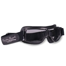 retro pilot T1 gunmetal black leather motor goggles