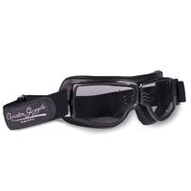 retro pilot T1 gunmetal zwart leren motorbril