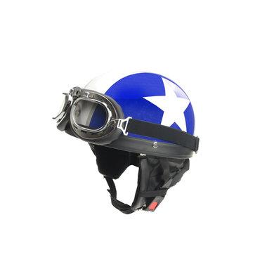 Blue - white half helmet
