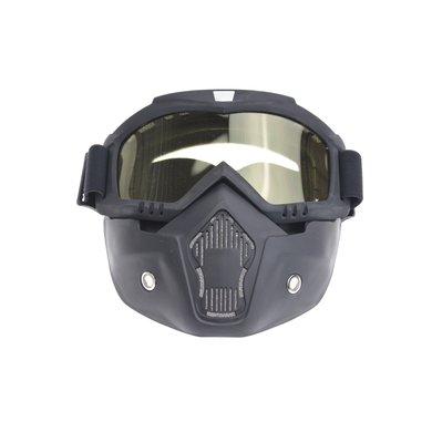 Black goggle mask - geel lens | helm masker