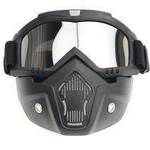 Black goggle mask - zilver reflectie lens | helm masker