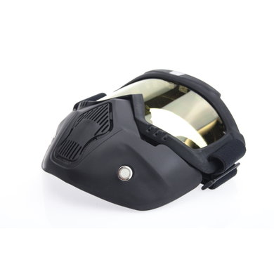 Black goggle mask - geel lens   helm masker