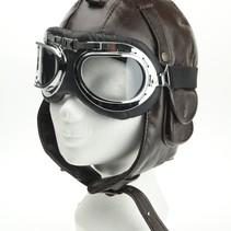 Bruin leren pilotenmuts met motorbril