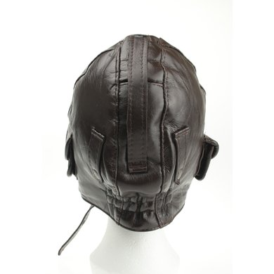 Brown leather pilot hat with motor goggles