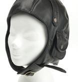 Zwart leren pilotenmuts met motorbril