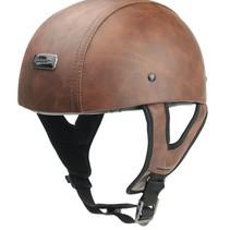 brown leather half helmet