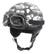 Chopper pothelm mat zwarte doodskop
