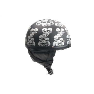 Chopper half helmet matt black multi skull