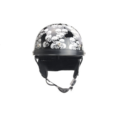 Chopper half helmet black multi skull