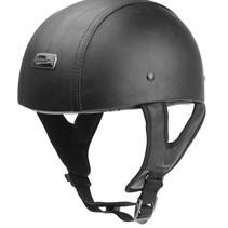 black leather half helmet