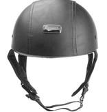 Brammo black leather half helmet