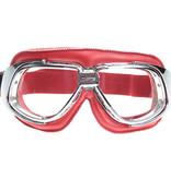 CRG retro, chrome red leather motor goggles