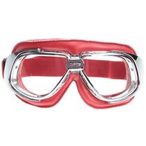 retro, chrome rood leren motorbril