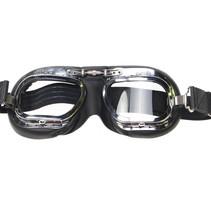 mark 10 deluxe, zwarte motorbril helder glas