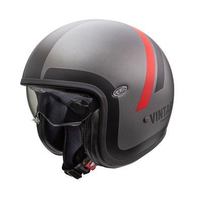 Premier vintage evo DO17 BM jet helmet | matt grey-red-black