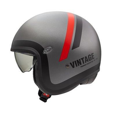 Premier vintage evo DO17 BM jethelm | mat grijs-rood-zwart