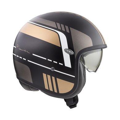 Premier vintage evo BL19 BM jet helmet | matt black-white-grey-gold