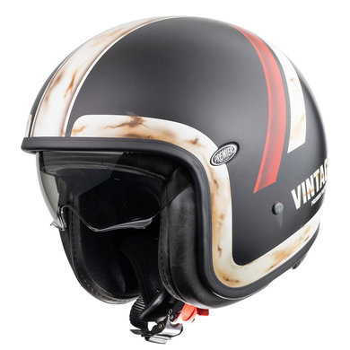 Premier Vintage Evo DO92 O.S. BM jet helmet | matt black with striping