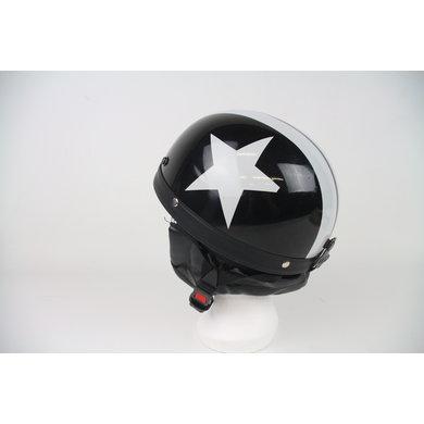 Black half helmet white star | outlet