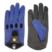 racing leather car gloves space blue