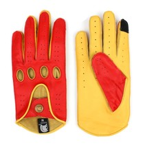 racing leather car gloves scarlett red