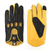 racing leather car gloves deep black