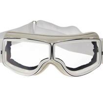 retro pilot T2 optical chrome white leather motor goggles