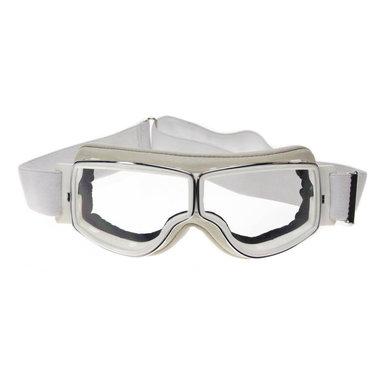 Aviator Goggle retro pilot T2 optical chrome white leather motor goggles