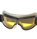 CRG black, white leather cruiser motor goggles