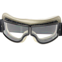black, white leather cruiser motor goggles