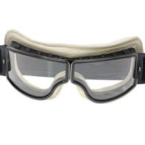 zwart, wit leren cruiser motorbril