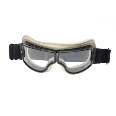 CRG zwart, wit leren cruiser motorbril